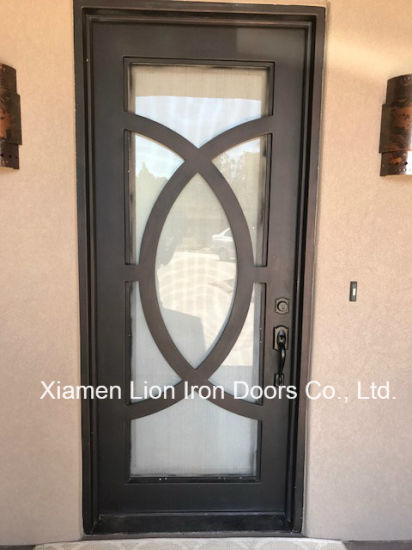 China Custom Metal Exterior Door Safety Forged Iron Entry Doors