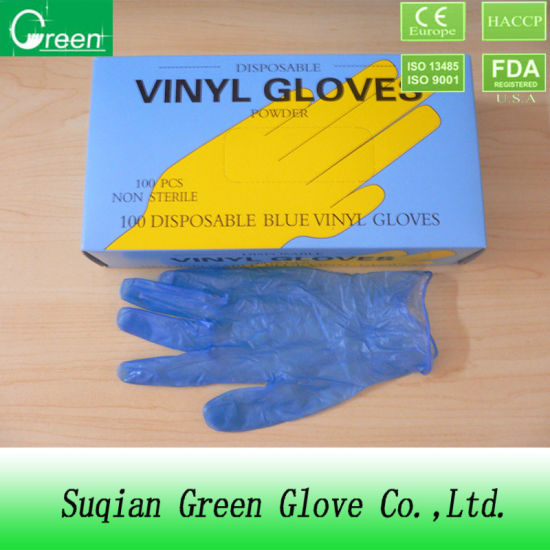Blue Powdered Vinyl Gloves PVC (AQL1.5) pictures & photos