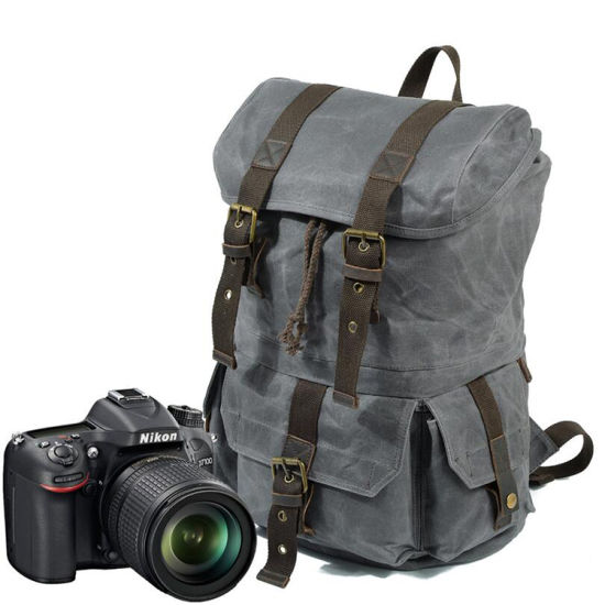 New Arrival Good Quality Waxy Canvas Outdoor Camera Backpack Waterproof Camera Bag