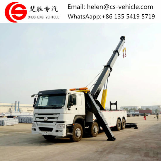 HOWO 8X4 371HP 420HP 360 Degree Rotation Rotator Road Recovery Truck Vehicle 30 Tons 50ton 70tons Rotator Emergency Wrecker Tow Trucks for Sale