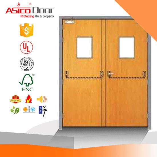 China Hotel Door Interior Fire Proof Wooden Door Solid Teak China