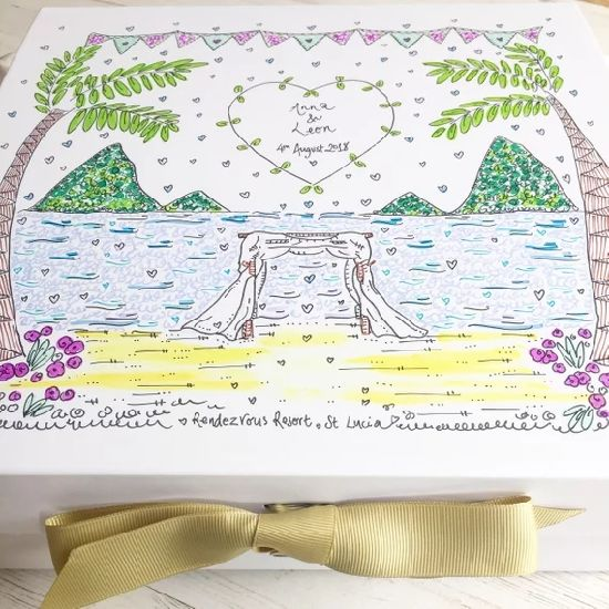 Caribbean Wedding Destination Hand Ilrated Beach Memory Box Bespoke Personalised Keepsake