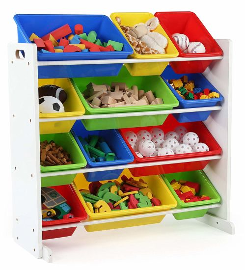 Toy Storage Container Living Room Furniture With 12 Plastic Bins
