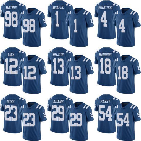 b3218ec19 Blue Colts Pat Mcafee Adam Vinatieri Andrew Luck Customized Football Jerseys