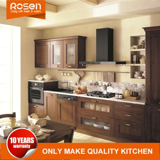 Custom Teak Wood Maple Dark Solid Kitchen Cabinets Furniture