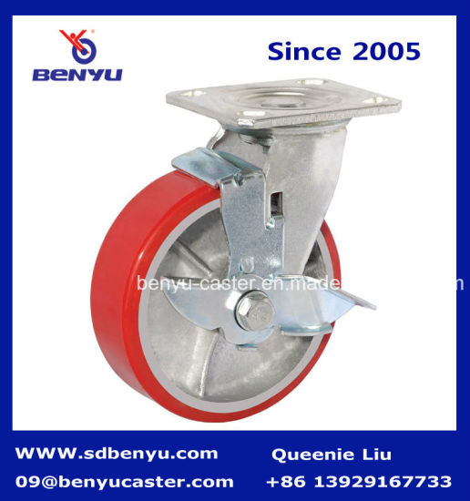 "5"" Polyurethane Castor Wheels, Iron Core, Swivel with Brake, Heavy Duty pictures & photos"