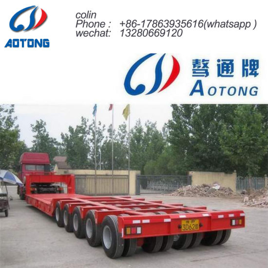 5 Axles 80tons Hydraulic Low Bed Semi Truck Trailer pictures & photos