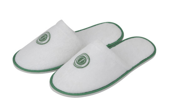 Green Tipping Green Print Logo Closed Toe Terry Hotel Slipper with 6mm EVA Sole