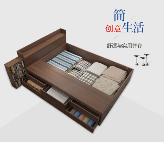 Space Saving Furniture Hot Sale Modern Simple Wooden Bed