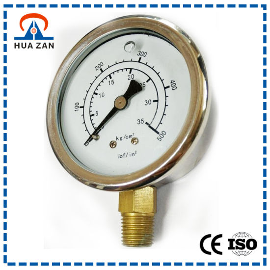 "2.5"" Stainless Steel Bottom Mount 35kg/500 Psi NPT 1/4 Oil Filled Pressure Gauge"