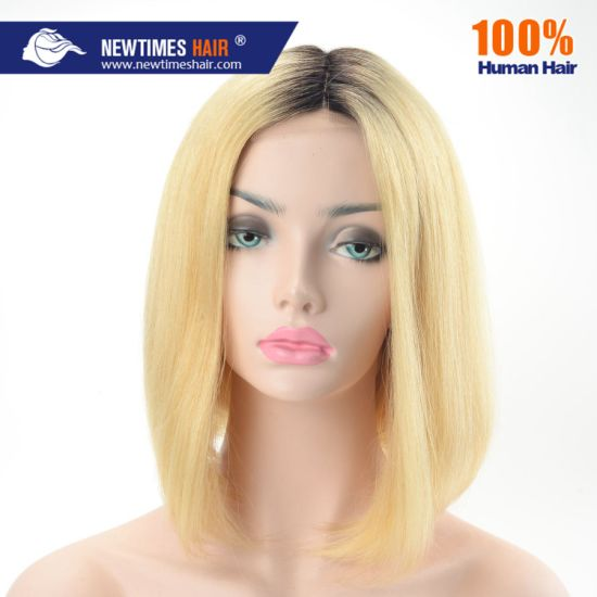 Stock Immediate Shipment Two Ton Color Brazilian Bob Human Short Hair Wig with Ribbon Clip pictures & photos