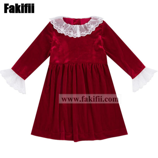 Customised High Quality Spring/Autumn Children Apparel Infant/Baby Clothes Girl Party Red Velvet Dress with Lace