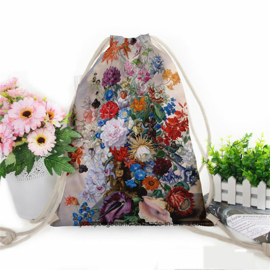 Portable Heat Transfer Digital Printing Drawstring Shopping Bag pictures & photos