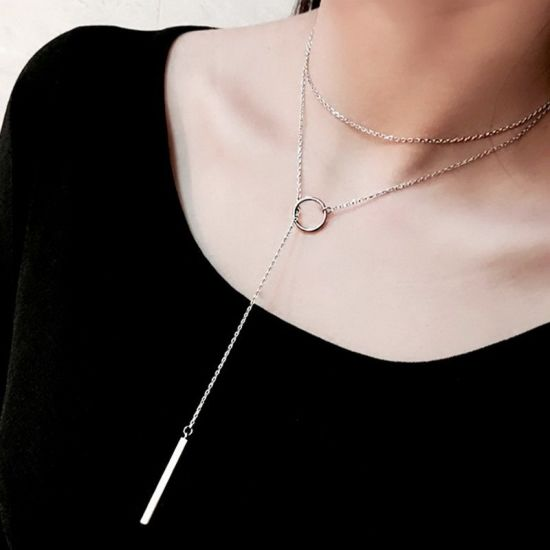 925 Silver Jewelry Korea Fashion Style Simple Design Sweater Chain for Women Necklace (ESG11084)