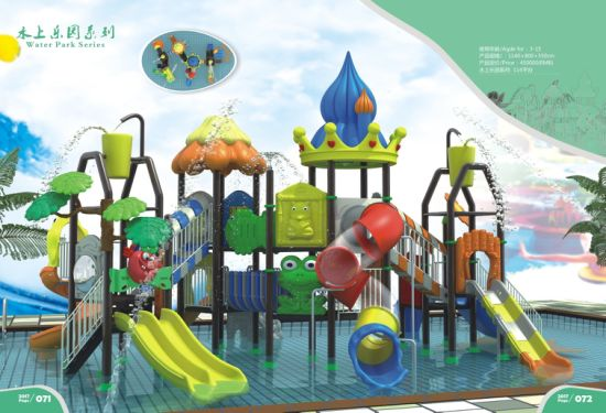 Custom Made Plastic Kids Play Outdoor Playground Amusement Park with Slide and Swing Equipment pictures & photos
