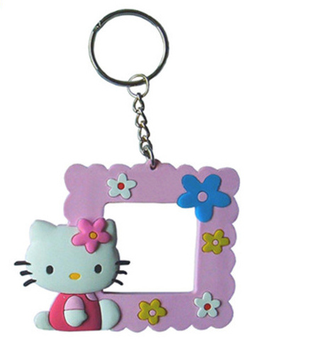OEM Frame Soft PVC Keychain with Mini Photo Frame Customized Double Letter H Design Rubber PVC Keychain