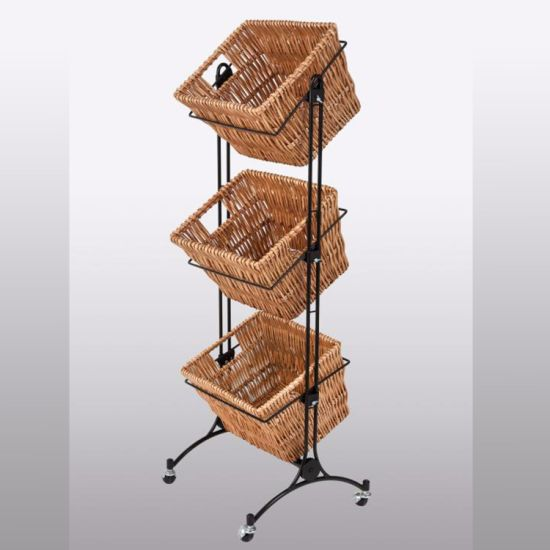 Square Rattan Basket Display Rack for Surpermarket and Bakery