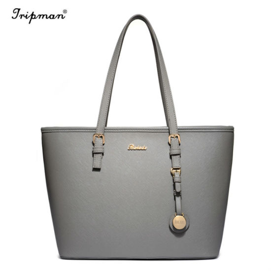 Solid Color Ladies Handbags Simple Design Hand Bag Leather Bags pictures & photos