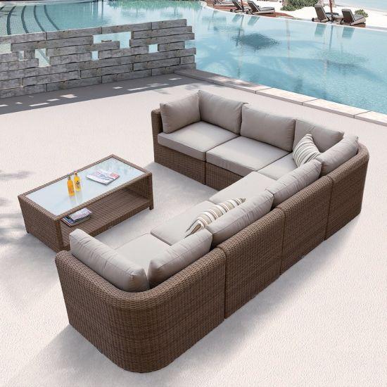 Outdoor Patio Wicker Home Hotel Office Garden Medi Lounge Sofa Set (J587)