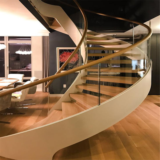 Stringer Glass Railing Handrail Stainless Steel Curved Staircase For Indoor