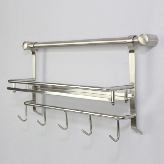 China 304 Stainless Steel Single Kitchen Shelf with Hooks ...