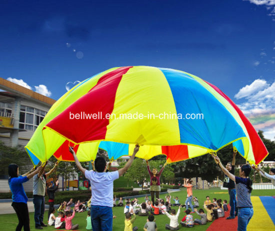 Rainbow Umbrella Colorful Parachute Training Toy for Group Game Teamwork pictures & photos