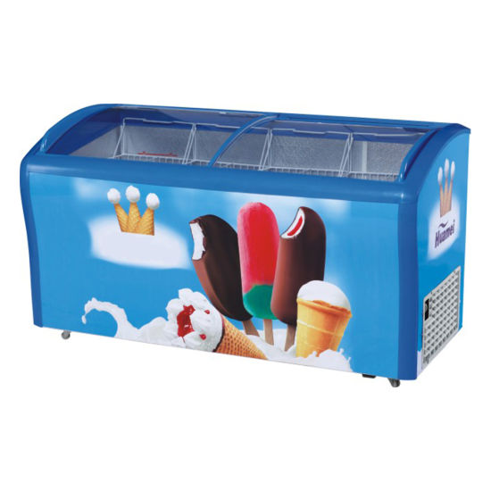 338 Curved Sliding Glass Lids Ice Cream Frozen Food Showcase Freezer