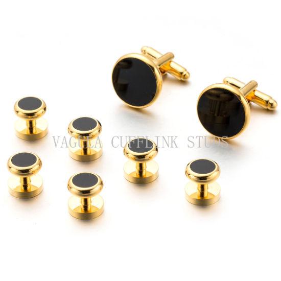 VAGULA Jewelry Onyx Tuxedo Cufflinks Studs 8 PCS Set Cuff Links