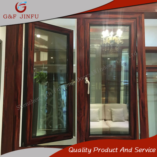 China Aluminum Casement Windows Metal Awning Window with Wood Grain