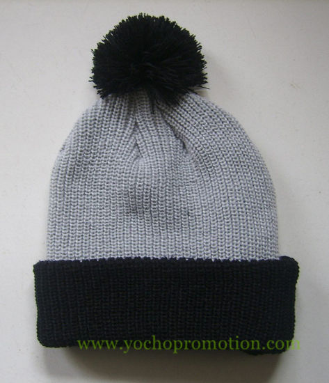 China 100% Acrylic Winter Cuff Beanie Knitted Hat with Top Ball ... 7a30e0de90b