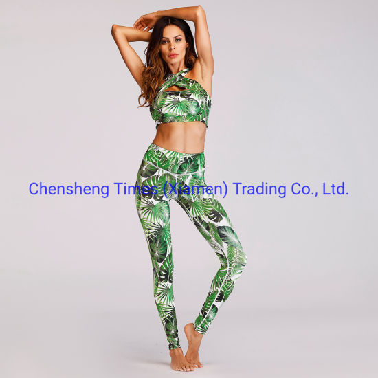 Women 2 Piece Outfit Gym Leggings Bra Set Sports Wear