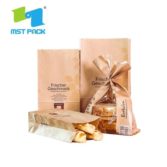 Recyclable Food Packaging Kraft Paper Bread Bakery Bag with Clear Window