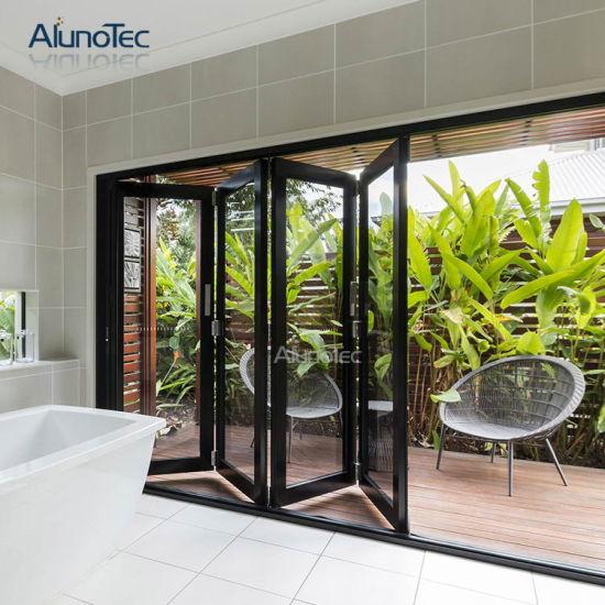 China Australia Style Interior Folding Glass Bifold Entrance Doors