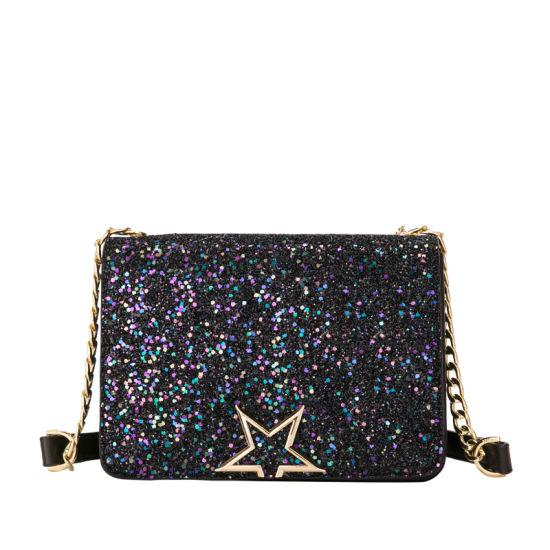 2018 New Chic Sequin Chain Crossbody Bag Las Handbag With Star Lock