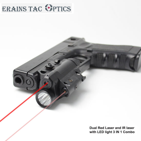 Pistol Mounted Tactical Multi-Functional Glock 3 in 1 Red and IR Laser Sight with LED Flashlight