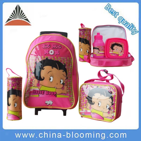 Display Supermarket Cartoon Functional Shoulder Stationery Girls Student Kids Rolling Wheeled Trolley Pen Pencil Case Cooler Lunch Bag Back to School Bags