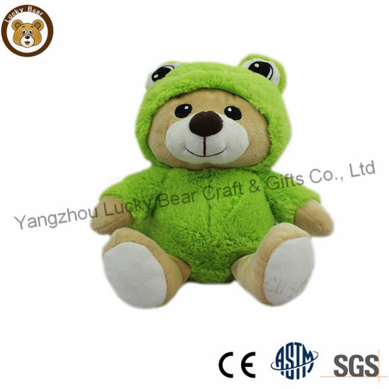 High Quality Best Plush Bear Toy with Frog Coat