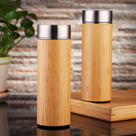 Wevi Stainless Steel Double Wall Vacuum Insulated Bamboo Thermos Sports Drinking Water Bottles pictures & photos