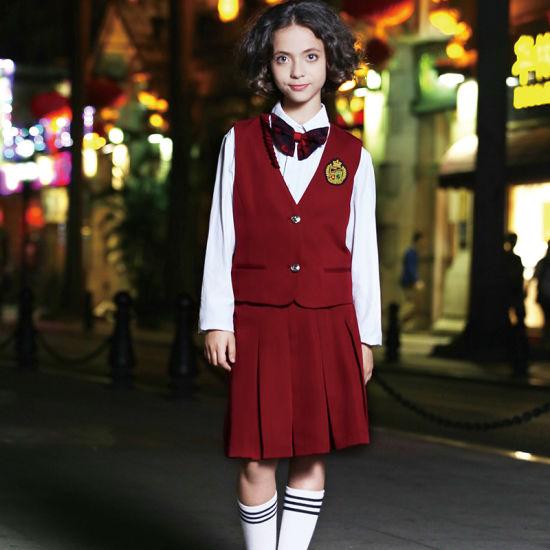 Custom Fashion Red Cotton School Girl Sleeveless Vest Skirt Uniforms