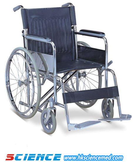 Heavy Duty Steel Manual Wheelchair with Drop Back Handle pictures & photos