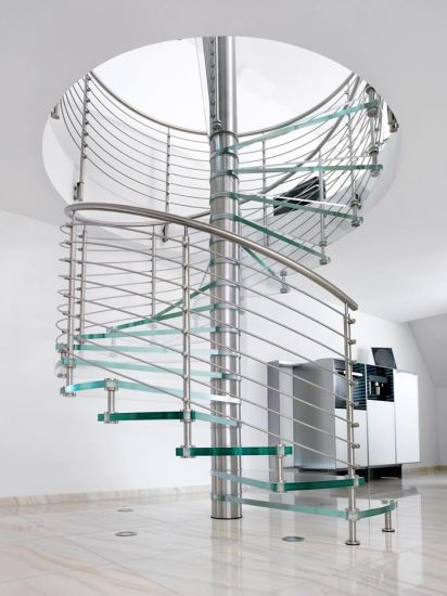 Easy DIY Spiral Staircase With Glass Tread And Steel Railing