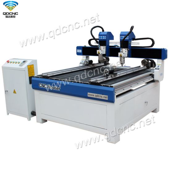 Two Heads MDF CNC Router Engraving Machine with Ncstudio Controller Qd-1212-2r