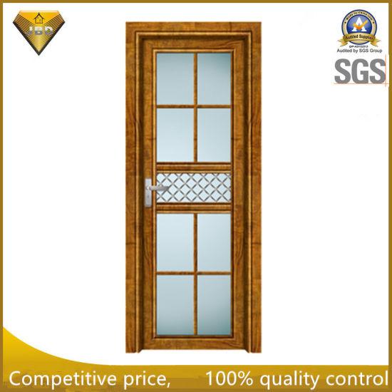 China Wooden Color Frame Tempered Glass Aluminum Bathroom Swing Door