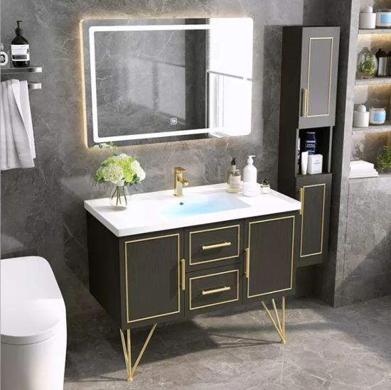 Modern Solid Wood Bathroom Vanity Led, Mirrored Free Standing Bathroom Cabinet