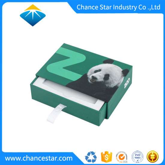 Custom Paper Cardboard Packing Drawer Box with Ribbon Puller