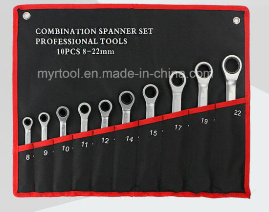 10PCS Professional Stable Gear Wrench Set in Rolling Bag (FY1810R)