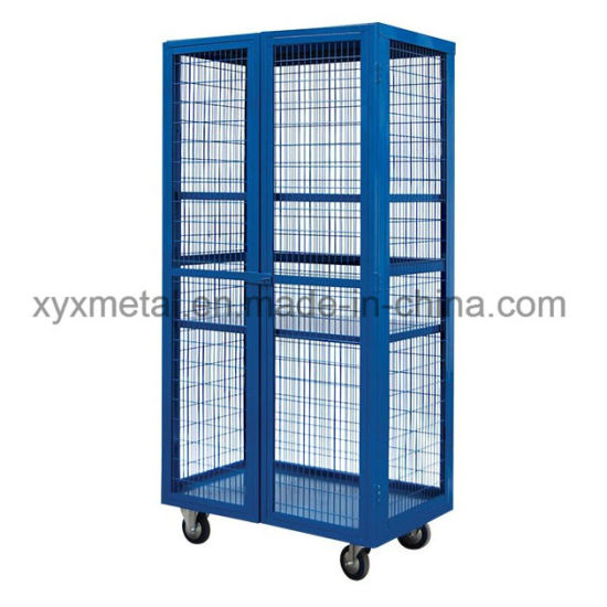 Warehouse Equipment Movable Metal Wire Mesh Roll Storage Cage