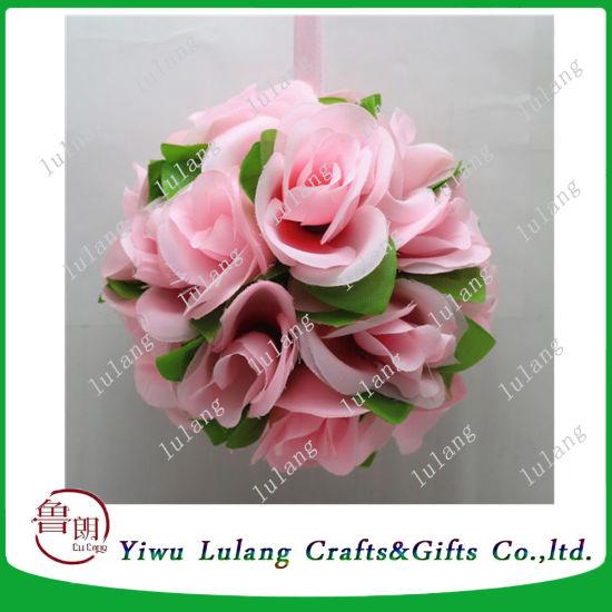 China Customized Silk Rose Kissing Balls Decorative Hanging