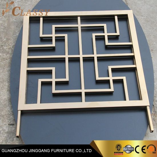 Golden Stainless Steel Laser Cut Patterns Decorative Carved Screen and Panels Perforated Metal Screening Design
