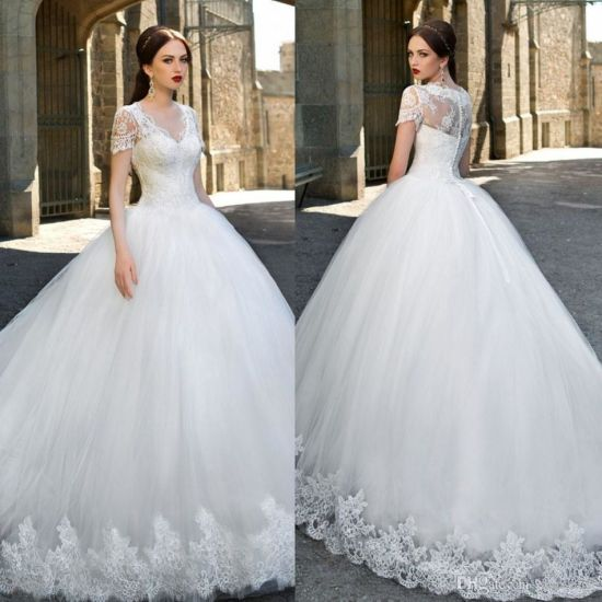 China Short Sleeves Bridal Ball Gown Lace Tulle Wedding Dresses